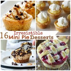 16 Irresistible Mini Pie Desserts -Perfect for the Holiday Dessert Buffet Mini Cherry Pies, Mini Pecan Pies, Mini Pumpkin Pies, Mini Pies, Apple Pies, Mini Pie Recipes, Cream Pie Recipes, Pumpkin Pie Recipes, Cooking Recipes