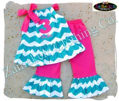 Zamakerr Clothing Co. presents this adorable Custom Boutique Girl CHEVRON OUTFIT    Available Sizes - 3 6 9 12 18 24 month Size 2T 2 3T 3 4T 4