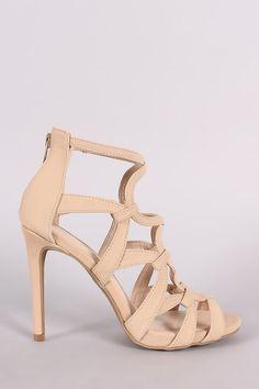 Anne Michelle Nubuck Strappy Caged Stiletto Heel – Style Lavish