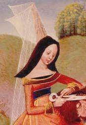 """Cuello de línea suavemente redondeada y cercana a los hombros. Imagen pertenece a """"Des cas des nobles hommes et femmes maleureux"""" (Samson & Deliliah) 1470-1482."""