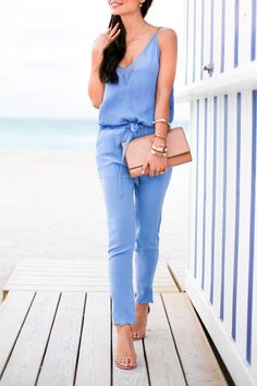 With Love From Kat - blue Mason by Michelle Mason jumpsuit with Stuart Weitzman nudist sandals