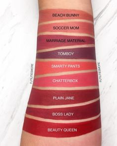 Makeup Geek Plush Lip Matte in Beach Bunny, Soccer Mom, Marriage Material, Tomboy, Smarty Pants, Chatterbox, Plain Jane, Boss Lady and Beauty Queen.
