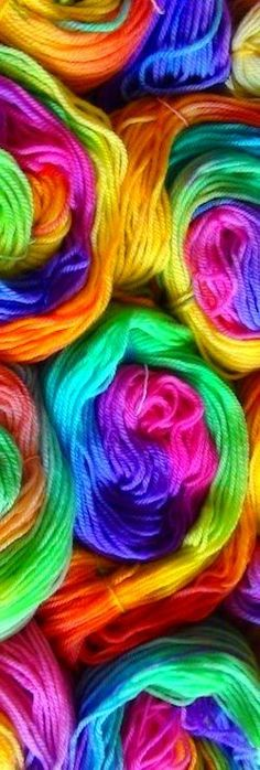 Rainbow Yarn -- love the colours! Happy Colors, True Colors, All The Colors, Vibrant Colors, Summer Colours, Taste The Rainbow, Over The Rainbow, Rainbow Things, World Of Color