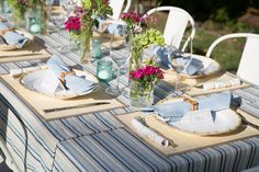 Take a cue from our friend @graymalin's inspired bamboo and blue tablescape and welcome the season of al fresco entertaining by hosting a summertime soiree of your own.