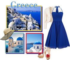 """Greece."" by anne-michelle ❤ liked on Polyvore"