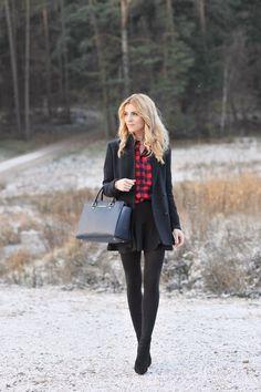 winter black & red plaid shirt