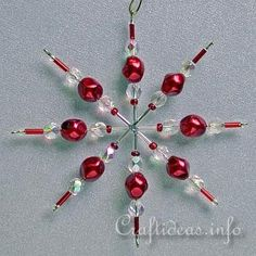 Red Beaded Star or Snowflake Ornament for the Christmas Tree...This site has many tutorials for ornaments.