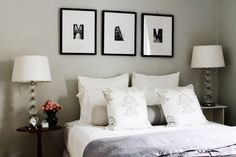 black and white Tri frame collage above bed