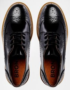 Bronx Black Leather Oxford Flat Shoes