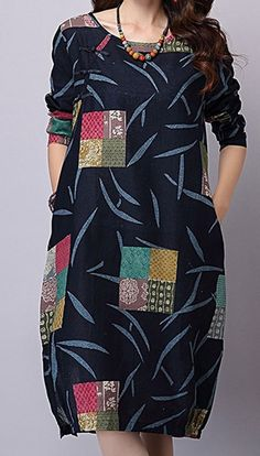 New Women loose fit patchwork flower pocket dress plate buckle tunic ethnic chic #unbranded