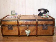 Antique/Vintage Wood & Pine Steamer Travel Trunk Coffee Table Blanket/Toy Box | eBay