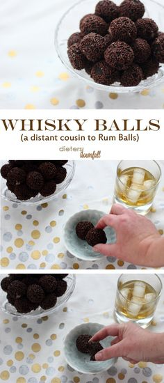 These little bite-sized whisky balls are packed full of chocolate and whisky. We call them Bourbon Balls. Candy Recipes, Baking Recipes, Cookie Recipes, Dessert Recipes, Alcohol Recipes, Delicious Chocolate, Chocolate Flavors, Chocolate Liquor, Homemade Chocolate