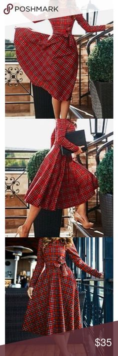 Red plaid long sleeve dress with bow Brand new very well made get it for Christmas! I own exact dress in larger size its perfect for Christmas! Size:S  ( Dress Length: 95cm/37.4inch, Bust: 86cm/33.9inch, Waist: 70cm/27.6inch, Sleeve Length: 59cm/23.2inch, Hem: 312cm/122.8inch ) Dresses Midi