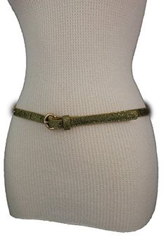 Trendy Fashion Jewelry Women Fashion Sparkling Narrow Belt Hip High Waist Metal Buckle S M Gold