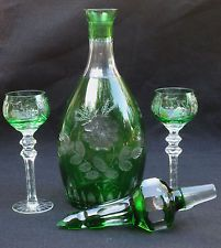 "Nachtmann Traube 16"" Emerald Green Crystal Wine Decanter"