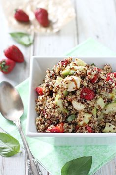 Recipe for strawberry quinoa balsamic salad. Quinoa with cucumbers, strawberries, mozzarella and balsamic. Perfect as a main or side dish! Make in advance.