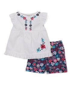 Loving this White Floral Top & Navy Floral Shorts on #zulily! #zulilyfinds