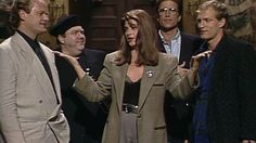 When Kirstie Alley opens the show and mentions that she misses her cast members from the sitcom Cheers, she's joined by Woody Harrelson, Kelsey Grammer, George Wendt and Ted Danson singing the theme song. [Season 17, 1991]