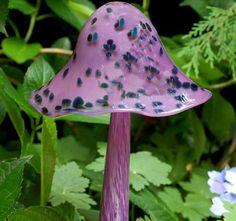Purple and black Blown Glass mushroom