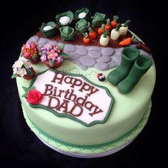 For+a+Keen+Gardener+-+Cake+by+Caron+Eveleigh - Birthday Cake Blue Ideen Birthday Cakes For Men, Garden Birthday Cake, Allotment Cake, Pond Cake, Farm Cake, Garden Cakes, Spring Cake, Occasion Cakes, Celebration Cakes