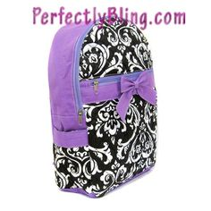 QUILTED FLORAL BACKPACK WITH BOW - PURPLE $24.99