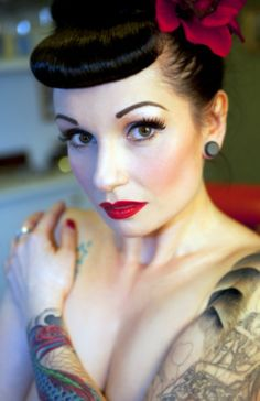 Pin-up makeup  Google Image Result for http://data.whicdn.com/images/18945626/flower-hairstyle-makeup-pin-up-rockabilly-girl-Favim.com-226655_large.jpg