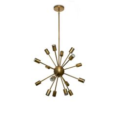 Lights.com | Ceiling Lights | Chandeliers | 16-Light Sputnik Pendant in Brass, Medium