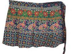 Blue Peacock Print Short Mini Wrap Around Skirts $19.95