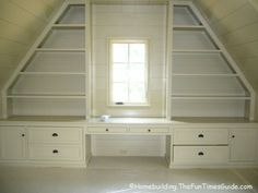 built in shelving in room with slanted/sloped ceiling #AtticRemodel
