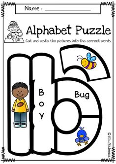 Alphabet Letter Puzzles are perfect for Preschool, kindergarten and first grade.  These worksheets help children to practice with cutting, gluing, phonics, developing stronger motor skills and problem-solving. This pack includes color and black white uppercase alphabet letter puzzles from A to Z.