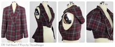 Threadbangers blazer reconstruction. Brilliant tutorial to re-make a dress jacket into various quirky vest alterations.