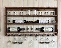 Shot Glass Holder, Glass Holders, Wooden Shelves Kitchen, Glass Shelves, Wall Shelves, Kitchen Cabinets, Wine Rack Inspiration, Unique Wine Racks, Wine Rack Design