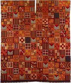 """Tunic, from Peru, Inca, 1500. Re-pinned by Elizabeth VanBuskirk on """"Inca & Pre-Inca Textiles."""" Because the Inca empire was centered in the high mountains, relatively few great textiles from this period have survived. This rare and exquisite woven tunic shows small """"symbols"""" which are studied with great interest. Do they represent Chiefs' tunics of captured or """"controlled"""" other cultures?"""