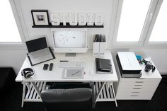 Photographic Studio in France. An office as a peice of art/photgraphy? This well composed work space reflects the photographer's own work.