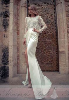 Elegant Sheath Bateau-Neck Sheath High Front Slit Backless Long Sleeved Lace Fitted Wedding Dress - Always the Bride