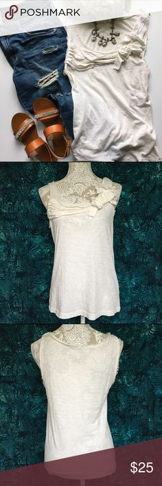 """J. Crew // Vintage Canvas Bow Tank - white This darling top is from J. Crew. Features raw edge hems on the yoke. Fabric detail across the bust with a fabric bow. Loose fit, can fit a medium. Has been worn but in excellent condition.   100% cotton  Measurements: Bust 34"""" Waist 32"""" Hip 34""""  Length 24"""" J. Crew Tops Blouses"""