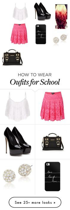 """""""School"""" by ravekait on Polyvore featuring DKNY, Casetify, Carolee and River Island"""