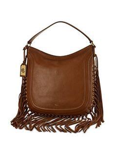 726f9aabd0ff Lauren Ralph Lauren Wheeler Leather Fringe Hobo Bag