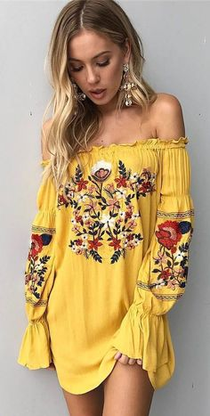 Off the shoulder tunic dress with floral embroidered patterns. ❤️ boho fashion :: gypsy style :: hippie chic :: boho chic :: outfit ideas :: boho clothing :: free spirit - The latest in Bohemian Fashion! Boho Outfits, Cute Outfits, Fashion Outfits, Yellow Outfits, Style Fashion, Boho Spring Outfits, Dress Fashion, Dress Outfits, Spring Clothes