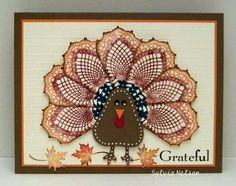 Stampin' Up! Hello Doily stamp used to make a turkey.  Not sure how I feel about this one but it is certainly unique.