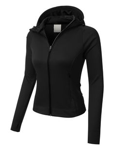 PREMIUM Womens Athletic Zip Up Long Sleeve Sports Running Jacket with Hoo 19618e8c18e