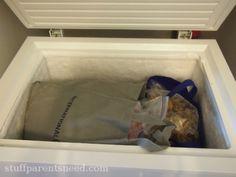 Canvas tote deep freezer organization