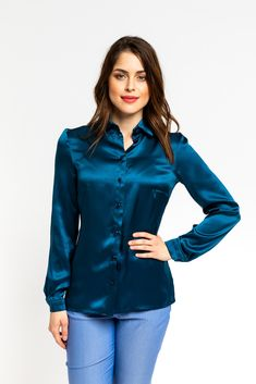 Silk Material, Timeless Elegance, Blue Blouse, Every Woman, Blue Tops, Shirt Style, Buttons, Turquoise, Elegant