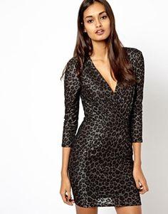 Warehouse Animal Print Jacquard Wrap Dress