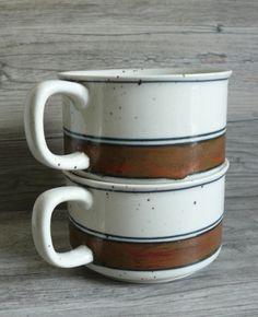 Two Otagiri Handled Bowls or Mugs Stoneware Brown Earth Glaze Stripe 12 ounces $26.99