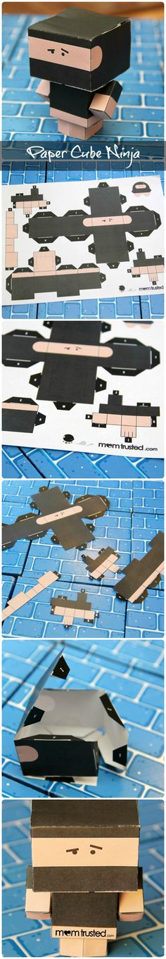 Kid Craft: FREE downloadable PAPER CUBE NINJA from MomTrusted.com.  So much fun for kids...great activity for birthday parties.