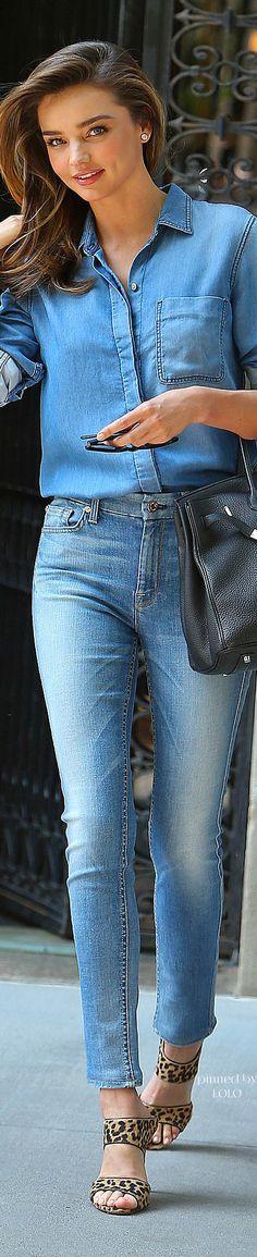 Brazilian model Miranda Kerr in a Jeans ensemble - so sophisticated yet casual
