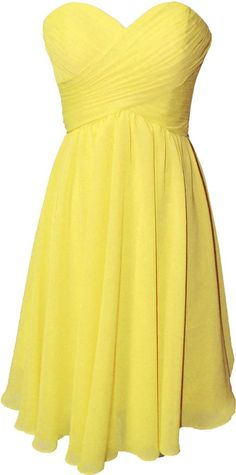OkayBridal Women's Strapless sweetheart chiffon pleat short bridesmaid dress (22W, Yellow)