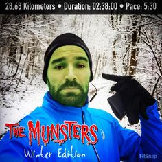 """Yesterday a strange guy  was seen with black knobs on his head. He ran criss-cross through the woods of #Nuernberg and stammered something about a new trainingsplan . Don't use headphones which let you look like Herman Munster . First """"long running"""" session done for this year in a #WinterWonderland. Wish you a wonderful week. Guten Start in die Woche meine Lieben. #SportFrei"""