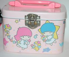 Vintage Sanrio Little Twin Stars Metal 1976, 1987  Copyright Rare Little Find Kawaii Girl Carry Box purse